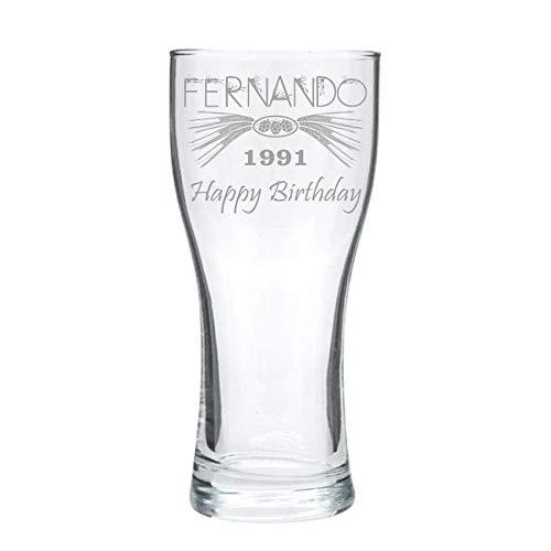 Vaso de cerveza personalizado, grabado - clásico (compacto) - diseño 1