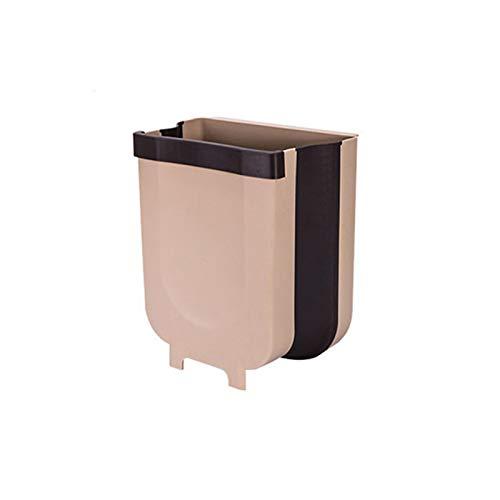 CZSM Papelera de Basura para Colgar Papel de Basura - Bote Plegable para el cajón de la Puerta del gabinete de la Cocina, plástico, 9 litros / 2.4 galones,Café