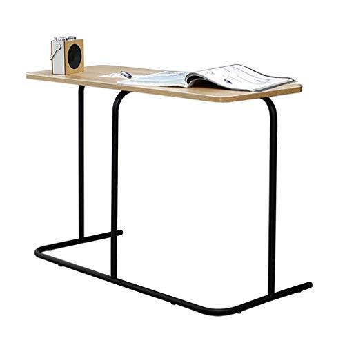 Dpliu Klapptisch Betttisch Industrie Beistelltisch, Mobil Snack Tisch Kaffee Laptop-Tablette, Slides Neben Sofa Couch, Holzoptik Accent Möbel mit Metallrahmen