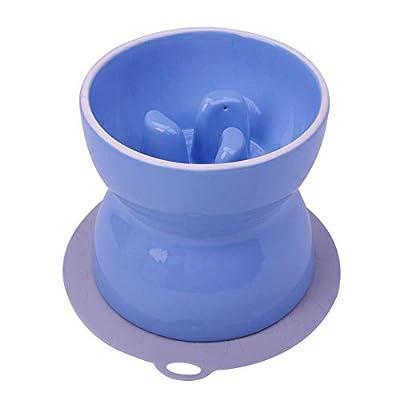 Super Design SUPERDESIGN Ceramics Elevated Slow Feeder Dog Bowl, Raised Dog Feeder for Food and Water L Blue