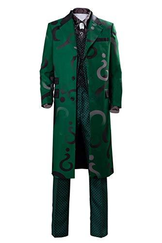 lancoszp Hombres Disfraz de Cosplay de Riddler Adulto Edward Nygma Costume Traje Abrigo Largo Verde Conjunto Completo, XXXL
