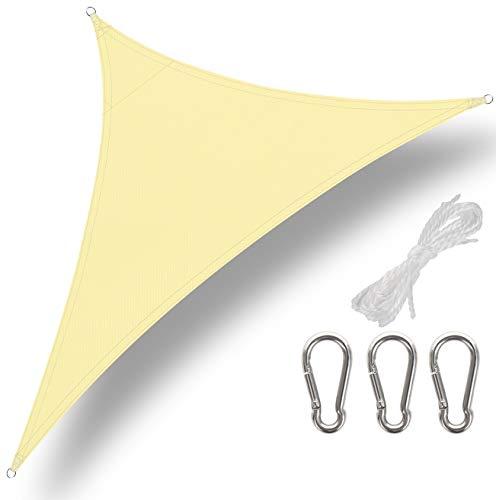 GeeRic Toldo Vela de Sombra Triangular 3 x 3 x 3m,con Gancho de Acero Inoxidable y Cuerda protección Rayos UV Toldos Impermeables Exterior Toldo Vela Impermeable para Patio, Jardín, Color Beige