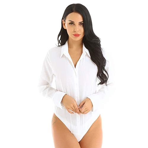 CHICTRY Women's Long Sleeve Button Down Shirts Bodysuit Career Top Blouse White Medium