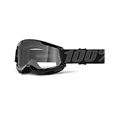 100% Strata 2 Motocross & Mountain Biking Goggles (Black - Clear Lens) MX and Mountain Bike Racing Protective Eyewear