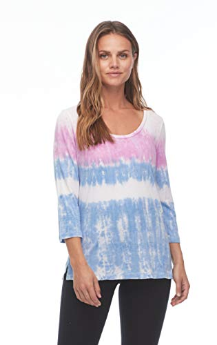 FDJ French Dressing iMove Jeans Tie Dye Scoop Neck 3 4 Sleeve Top, Multi, Small