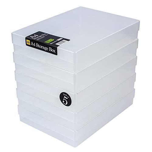 WestonBoxes - A4 Box zur Aufbewahrung von Papier, Karten und Anderen Bastelartikeln und Werkzeugen (Farblos, 5 Stück)