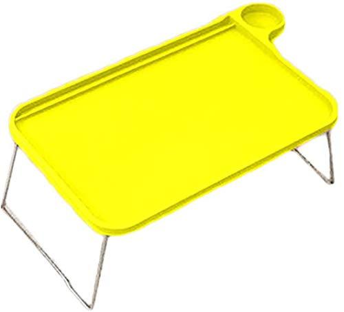Paelf Marco de Escritorio Plegable para computadora portátil Escritorio Perezoso Simple Plegable Escritorio de Estudio de Dormitorio de plástico Creativo Mesa Multifuncional,Yellow