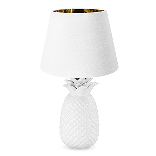 Navaris Lámpara de mesa vintage - Iluminación con forma de piña con rosca E27 para mesa de noche con pantalla - Decoración de sobremesa de 40 CM