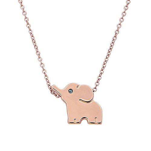 ELBLUVF 18 K Acero Inoxidable bañado en Elefante Animal Lucky Collar de Elefante Diario Joyas