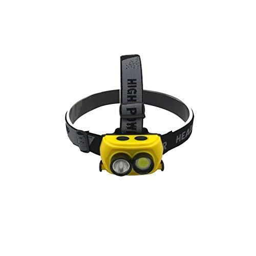 Dicomi 3 Modi COB LED Head Light 3W ABS Scheinwerfer Wasserbeständigkeit und Verstellbarer Gummiband 90 ° Drehbar für Nachtlicht,Wandern,Camping Gelb