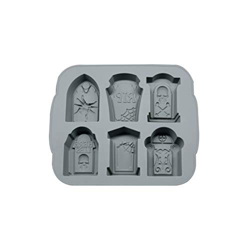 Yorten 3D Silikon Tombstone EIS-Würfel-Form Wein Eiswürfel-Behälter-Hersteller-EIS-Behälter for Kicthen Halloween Bake Werkzeuge Silikonbackform Kuchen (Color : Gray)