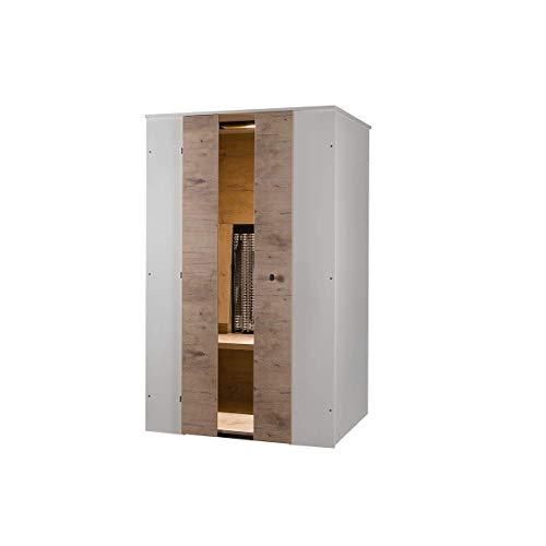 PHYSIOTHERM Infrarotkabine • Infrarotkabine für 2 Personen • Wärmekabine aus Eiche-Dekor mit 2 Rücken- und 2 Frontstrahlern • Platzsparend mit 117 x 100 x 197 cm