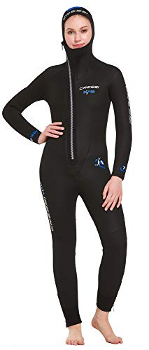 Cressi Women's Diver Lady Monopiece Wetsuit Premium Neopren Damen Tauchanzug mit Angesetzter Haube - Erhältlich in 5/7 mm, Schwarz/Blau, S/2