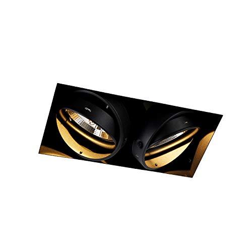 QAZQA Moderno Foco empotrable negro 2-luces GU10 AR111 sin-marco - ONEON Trimless Acero Rectangular Adecuado para LED Max. 2 x 50 Watt