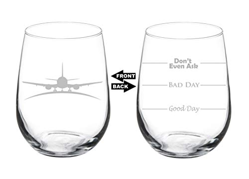 Wine Glass Goblet Two Sided Airplane Pilot Flight Attendant (17 oz Stemless)
