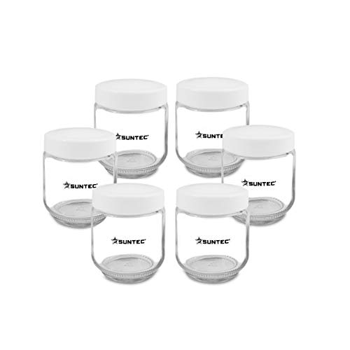SUNTEC Macchina per yogurt con recipienti YOG-CUP-6-SET-8687 [Set di recipienti con 6 recipienti in vetro da 170 ml, incl. coperchio, adatto a macchina per yogurt YOG-8571 easy + YOG-8588 digital]