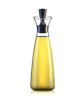 No Funnel Needed Olive Oil & Vinegar Dispenser Glass Cruet Bottle for Kitchen   Airtight Silicone Cap Keeps Oil Fresh Longer   17 ounce cruet  Clear