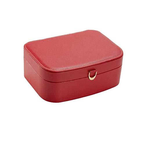 caja organizadora de joyas Litchi patrón de la joyería caja de joyas caja de almacenamiento conveniente for los regalos de cumpleaños boda doble capa de espejo acabado cuadro organizador de viajes de