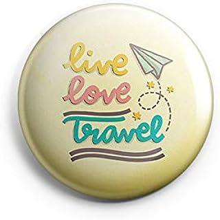 AVI 58mm Regular Size Yellow Metal Fridge Magnet with Positive Quotes Live Love Travel Design MR8001060