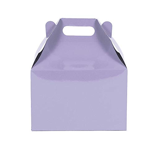 12CT (1 Dozen) Large Biodegradable Kraft/Craft Favor Treat Gable Boxes (Large, Lavender)