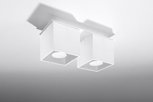 Bauhaus Deckenleuchte (B10cm, L26cm, 2-flmg, Bauhaus, in Weiß, Rechteckiger Schirm) Küchenleuchte Innenlampe Flurlampe Deckenlampe