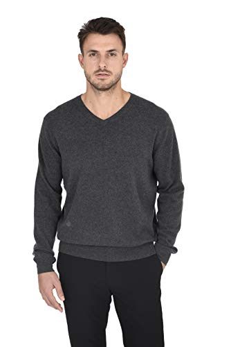 Cashmeren Men's Essentials Knit V-Neck Sweater Cashmere Wool Long Sleeve Classic Pullover (Charcoal, Medium)