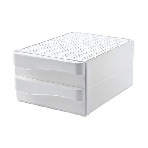 XGzhsa Cajonera de sobremesa, Organizadores de escritorio, Cajones cosméticos de archivo de plástico duradero de doble capa para papel A4, almacenamiento de oficina en el hogar (blanco) 🔥