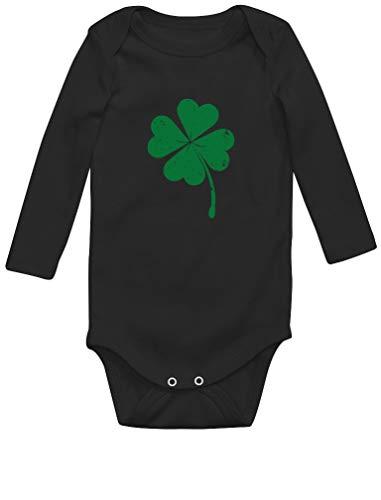 Green Turtle T-Shirts St Patrick Faded Shamrock Body Bébé Manche Longue 18M Noir
