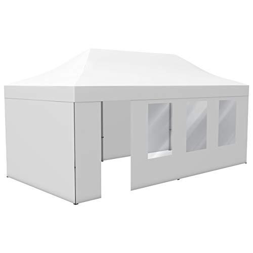 Vispronet® Profi Faltpavillon/Faltzelt Basic 3x6 m, Weiß ✓ stabiles Scherengittersystem ✓ 4 Zeltwände, 1 Wand mit Tür & Fenster