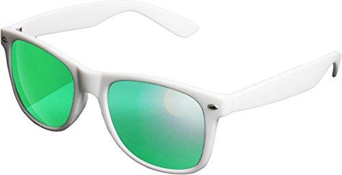 MSTRDS Likoma Mirror Unisex zonnebril voor dames en heren met spiegelende glazen, wit/groen