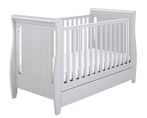 Babymore Stella Sleigh Cot Bed Drop Side with Drawer | Solid Pine Wood |Converts into Day Bed, Toddler Bed | Teething Rail | Grey