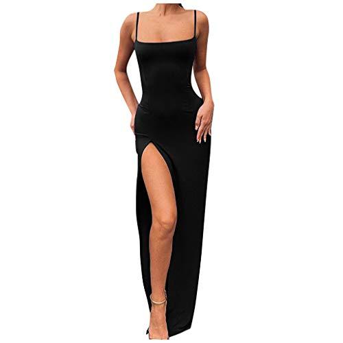 Auifor vrouwen werken Soild Spaghetti-hanger weg van de schouder split mouwen lange jurk