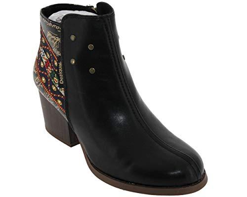 Desigual Chaussure Country Exotic Bottine femme Taille 41 EU - Noir - motif multicolore