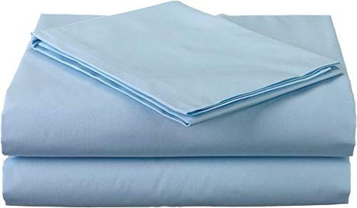 RRlinen 600 Thread Count Luxurious Sheet-Set with 12 inches Deep Pocket (1 Fitted Sheet, 1 Flat Sheet and 2 Pillow Cases) Twin Sky Blue Solid