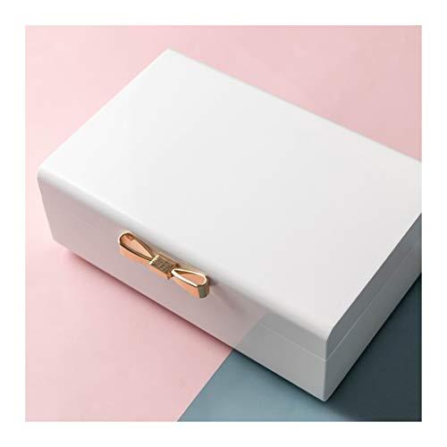 caja organizadora de joyas Joyería de la caja doble de princesa Style de la joyería de madera caja de almacenamiento de los hogares acabados de joyería de la caja blanca organizador de viajes de joyer
