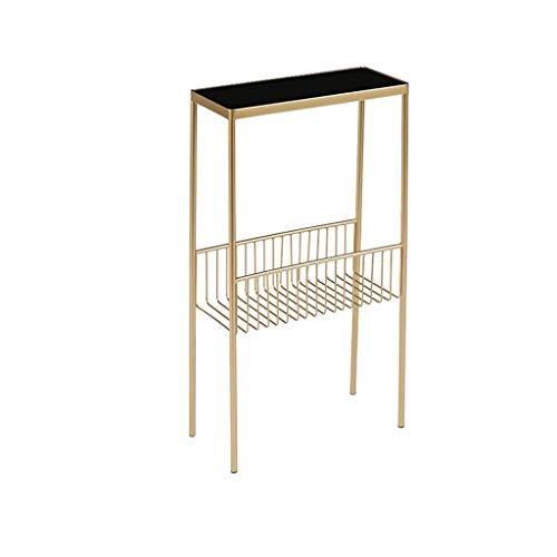 Metal Flower Stand, Double Layer Glass Coffee Table Verfijn Waterproof Coffee Table Studio Office Clothing Store Magazine Table (Color : B, Size : 70 * 20 * 40CM)