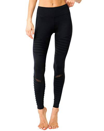 Savoy Active Athletique Low-Waisted Ribbed Leggings with Hidden Pocket and Mesh Panels - Black