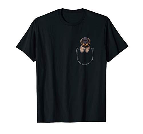 Rauhaardackel Teckel Dachshund in der Vordertasche Brust T-Shirt