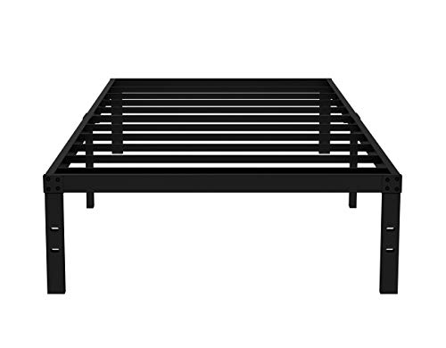 COMASACH 16 inch Twin Bed Frame No Box Spring Needed, 3500 lbs Heavy Duty Metal Platform Bed Frames, Non-Slip and Noise-Free Mattress Foundation, Black