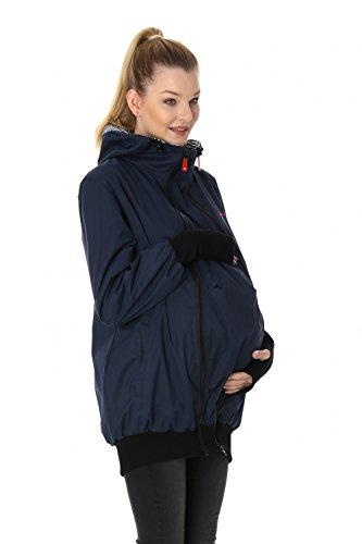 GoFuture Damen Tragejacke für Mama und Baby mit 2 Tragepositionen 5in1 Känguru aus Concordia Shell und Baumwolle SommerAmMeer GF2066XD in Marine mit marineweißen Streifen