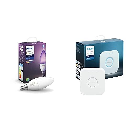 PHILIPS Lighting Hue White And Color Ambiance Lampadina Smart Attacco E14, Con Bluetooth, Da Luce Bianca A Colorata 5.3 W, Trasparente & Lighting Bridge 2.0 Controllo Del Sistema Hue, Bianco