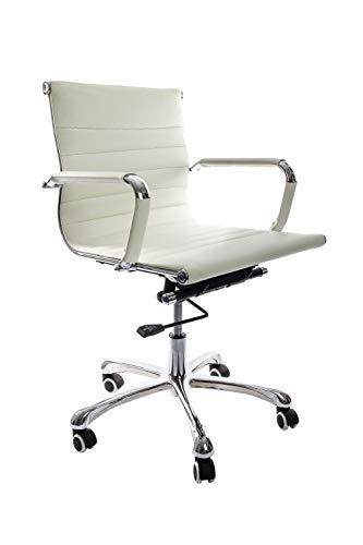 Vivol Design Schreibtisch Stuhl Valencia Weiß - Bürostuhl Ergonomisch Kunstleder - Stuhl Cognac Bürostuhl 150 kg - Drehstuhl mit Rollen und Armlehnen