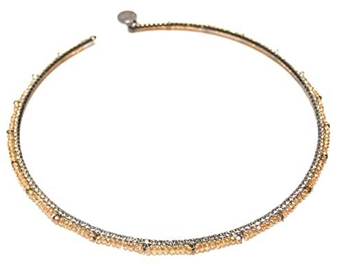 Collana girocollo rigida con perline e strass Sodini Bijoux