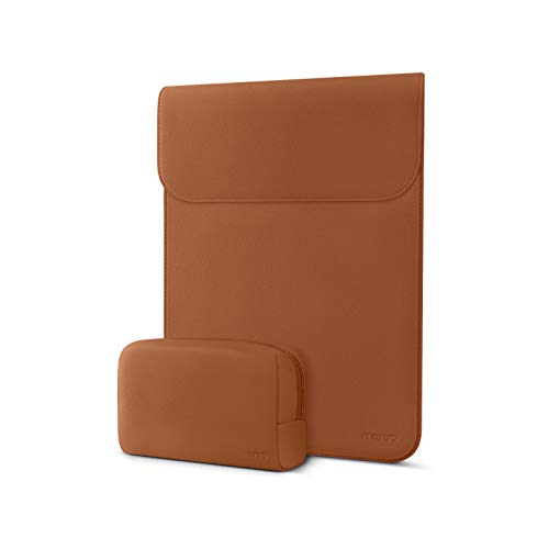 MOSISO Laptop Sleeve Compatible with MacBook Air 13 inch A2337 M1 A2179 A1932, 13 inch MacBook Pro A2338 M1 A2289 A2251 A2159 A1989 A1706 A1708, Faux Suede Leather Case with Small Bag, Brown