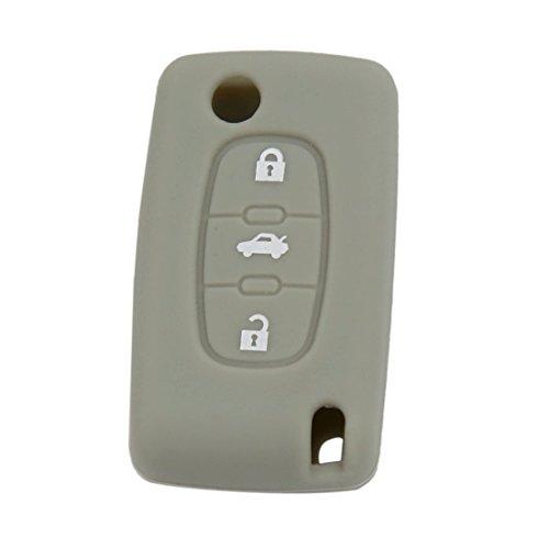 sourcing map Étui en silicone gris couvercle porte-clé 3 bouton Monter pour 407 307 107 207 607