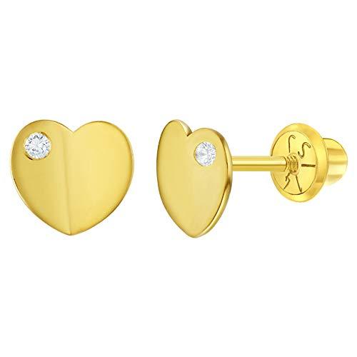 Pendientes clásicos de oro amarillo de 14 quilates y circonita cúbica con forma de corazón para niñas y adolescentes