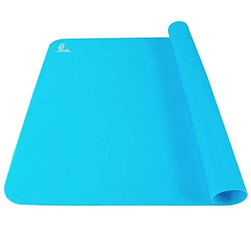 Antiadherente tapete de silicona de doble grosor /estera para hornear extra grande para colchoneta antideslizante resistente al calor, protector de encimera,estera de arte y manualidades 60×40cm Azul