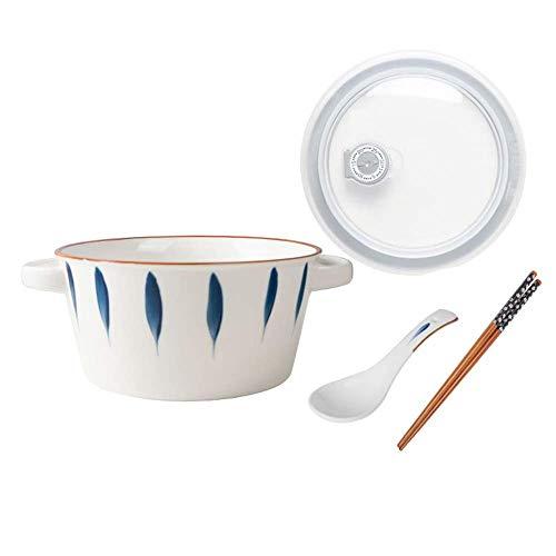 JSMY Cuencos para microondas de 37 oz con Tapa,Cuencos de cerámica de Estilo japonés con asa,Recipiente de cerámica para Almacenamiento de Alimentos con Cuchara y Palillos,Cuencos para Mezclar,pa