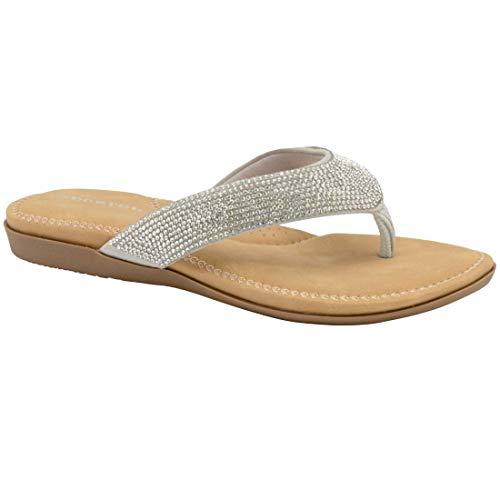 Dunlop Damen Flip-Flops Damen Memory Foam Zehensteg Slip On Beach Sandalen (9 UK 9 UK Silber)