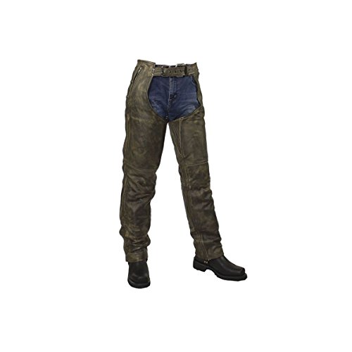 Mens Distressed Brown Leather Motorcycle Chaps (XL Regular)